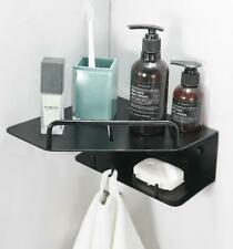 Black Color Wall Mounted Shower Caddy Wire Basket Storage Shelves Double Layer