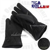 Mens Gloves Motorcycle Driving Winter Warm Thermal Fleece Lined Leather Black