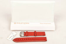 Philip Stein ruby red leather topstitch buckle wrist watch strap band NEW $95