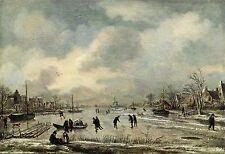 Alte Kunstpostkarte - Aert van der Neer - Eislandschaft