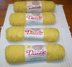 LOT 4 CARON DAZZLE YARN GOLD 2602 YELLOW SAME DYE LOT 4 OZ 4 PLY VINTAGE NEW NOS