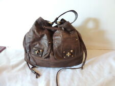 Juicy Couture womens large brown leather hobo tote handbag shoulder bag