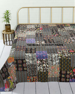 Boho Kantha Quilt Reversible Indian Bedding Blanket Cotton Patchwork Black Queen