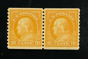 US stamps SC# 497  10 cent yellow, Line Pair, perf 10V, MNH