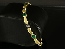 Modernes Smaragd Brillant Armband ca. 2,70ct  21,2g 750/- Gelbgold & Weißgold