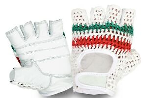 VINTAGE STYLE CYCLING GLOVES REAL LEATHER CROCHET PADDED PALM FINGER LESS MITTS