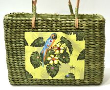 Sun 'N' Sand Green Straw Purse with Tropical Parrot motif, zip-top closure
