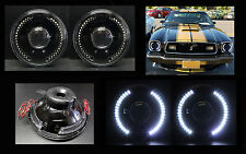 """H6012 H6015 H6024 7"""" White LED Halo Black Projector Headlights"""