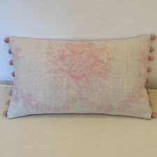 """NEW Kate Forman Sophia Pink Linen Fabric 20""""x12"""" Pom Pom or Piped Cushion Cover"""