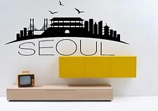 Wall Vinyl Sticker Decal Skyline Horizon Panorama City Seoul Korea World F1799
