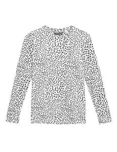 NEW SIZE 14 LONG SLEEVE ANIMAL PRINT STRAIGHT FIT TOP MARKS & SPENCER WHITE MIX