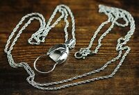 "Vintage Monet Silver Tone Charm Holder Pendant 30"" Rope Chain Necklace"