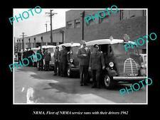 OLD LARGE HISTORIC PHOTO OF NSW NRMA SERVICE CAR FLEET & DRIVER c1962