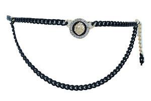 Women Dreamy Celebrity Belt Black Gold Metal Chain Bling Lion Charm Size M L XL
