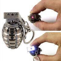 Mens Metal Keyring Retro Led Hand Grenades Super Bright  Flashlight Key Chain