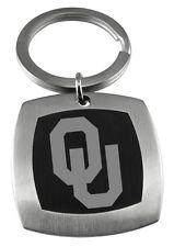 UNIVERSITY OKLAHOMA SOONERS OU * Stainless Steel & Black Keychain w/School Logo