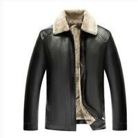 Mens Winter Jacket Fur Lined Thicken PU Leather Coat Casual Warm Outwear Fashion