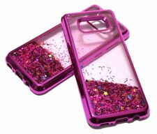 For Samsung Galaxy S8+ PLUS - Hot Pink Motion Glitter Stars Sparkle Liquid Case