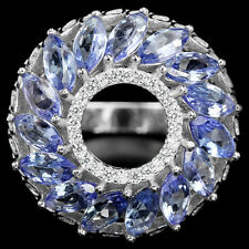 MARQUISE AAA RICH BLUE VIOLET TANZANITE & WHITE CZ 925 STERLING SILVER RING SZ 8