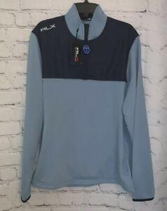 RLX Ralph Lauren Men's 1/4 Zip Golf Blue Quarter Zip Pullover Sweater Large