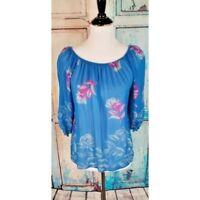 Anthropologie Fei Silk Bardot Top Chiffon Flora peasant blouse blue size small