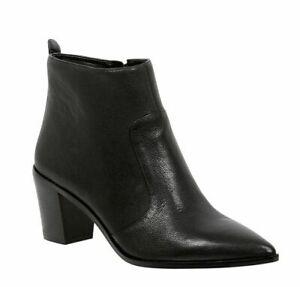 Nine West Women Colfax Black Leather Ankle Block Heel Boot Shoe Sz AU 10 NEW