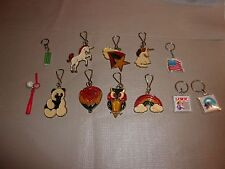 12 Vintage Keychains Faux Stained Glass, ET