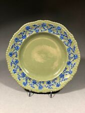 Rare Spode Green Drabware Plate with Blue Molded Border