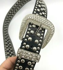 "Women Black ML Leather Studded Belt Rhinestones Rhinestone Buckle waist 37""*1045"