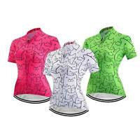 Damen Kurzarm Fahrradtrikot Grün Weiß Rosig Radsport Shirt Rennrad Trikot Tops