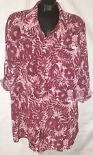 White Stag Womens 100% Poly Floral Print Blouse Top Sz 2X 18W/20W   W40
