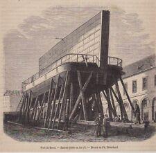 1875  --  PORT DE BREST    BATEAU PORTE EN FER   3B156