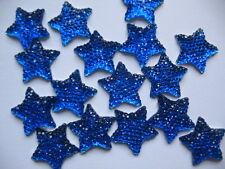 10 X Blu Glitter Stella Piatto Indietro fiocco al centro Abbellimenti Cerchietto 16 mm