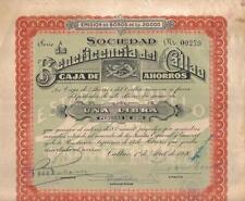 Original Peru Bond 1926 Beneficencia Callao Savings Co 1 libra gold Deco coup