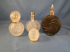 2 Hobnail Clear Glass Perfume Spray Bottles and 1 Vintage Black Perfume Bottle