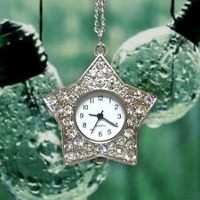 SQS-L873D Star Pendant Long Necklace Mini Metal Pocket Watches Rhinestones Gifts