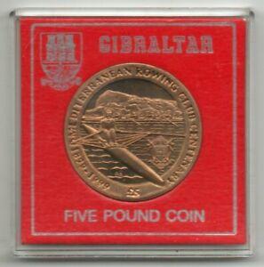 Gibraltar 1999 Med Rowing Club centenary £5 coin. Very fine. Uncirculated coin.