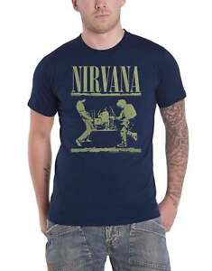 Nirvana T Shirt Live on Stage Band Logo new Official Mens Navy Blue