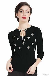 Voodoo Vixen Womens Floral Sweater Jumper Cardigans 1950s Vintage Retro Tops