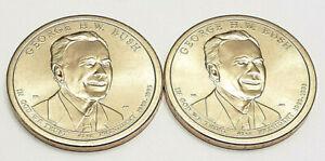 2020 P & D George H.W. Bush Presidential Dollar Set (2 Coins) **FREE SHIPPING**