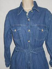 Denim Dress LARGE Womens 14-16 Newport News Blue Long Sleeves Cotton 6r160
