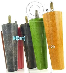 4x ROUND TAPERED WOODEN LEGS 120mm High CHAIR REPLACEMENT FURNITURE FEET M8(8mm)
