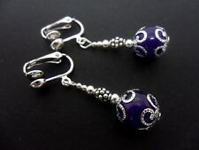 A PAIR OF DANGLY PURPLE JADE BEAD CLIP ON EARRINGS . NEW..
