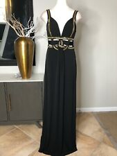 Guess Womens 8 Black Gold Beaded Cut Out Evening Prom Gown Dress OP