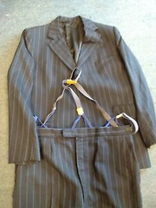 """Vintage Kinloch Anderson Wool navy & Blue striped suit with braces 48"""" 1975 C231"""