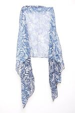 Navy Blue & Off White Faded Paisley Print Casual Everyday Wear Wrap Scarf (s101)
