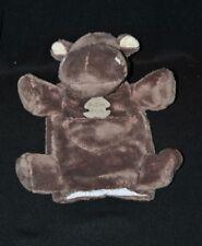 Peluche doudou marionnette hippopotame HISTOIRE D'OURS brun marron poche NEUF