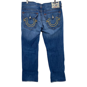 True Religion Men's Classic Straigh Jeans Size 38x32 Made in USA Thick Stitch