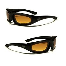 Choppers HD Lens Padded Motorcycle Goggles Biker Sports Riding Black Sunglasses