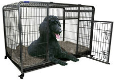 Extra Large Premium Heavy Duty Dog Crate Cage with Nylon Wheels - Size Ex-Large